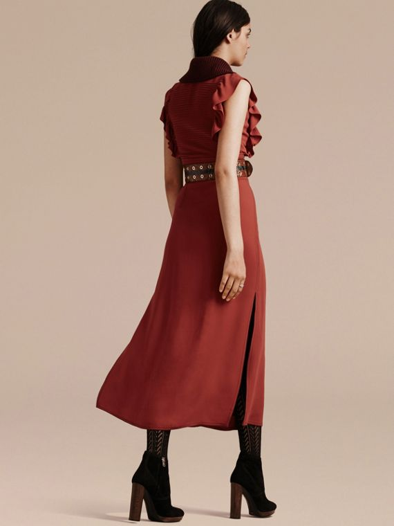 Cinnamon red Pintuck and Ruffle Shirt Dress - cell image 2