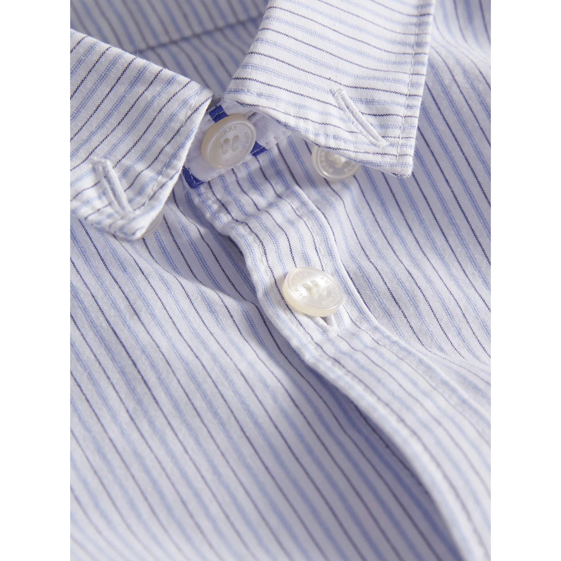 Contrast Stripe Cotton Shirt in Light Blue - Boy | Burberry - gallery image 1