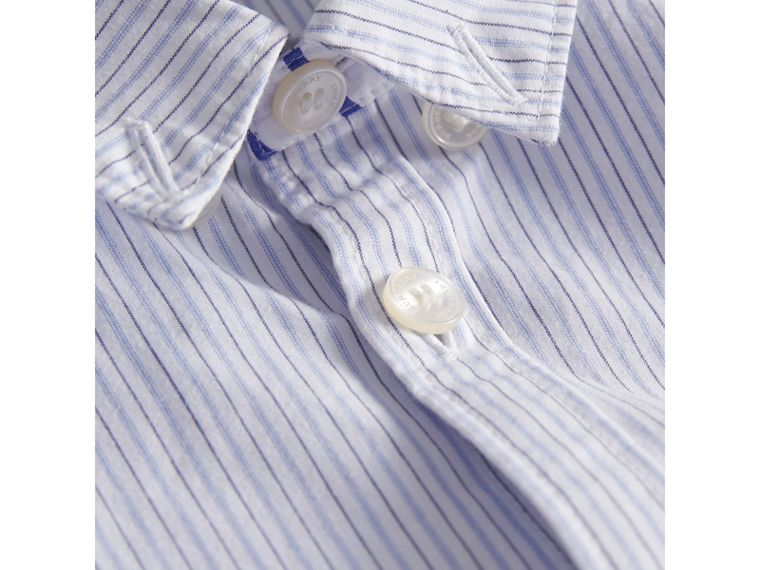 Contrast Stripe Cotton Shirt in Light Blue - Boy | Burberry - cell image 1
