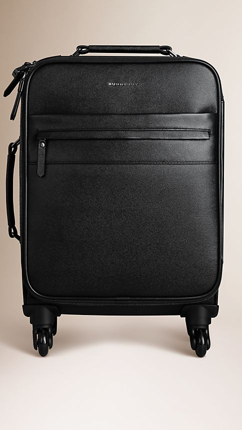 Black London Leather Four-Wheel Suitcase - Image 1