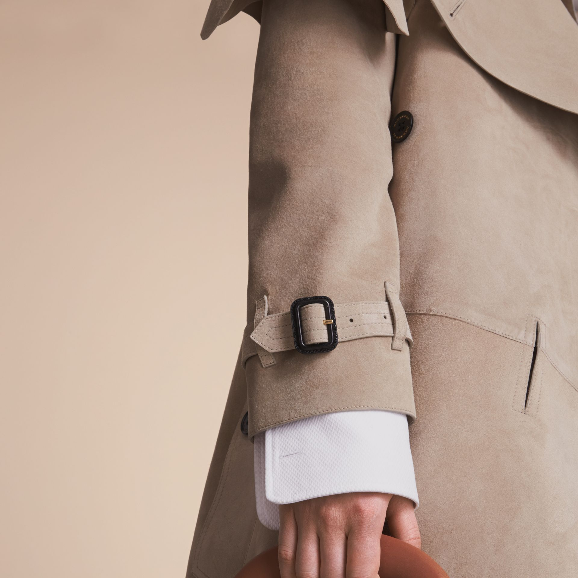 Suede Asymmetric Trench Coat - Women | Burberry - gallery image 5