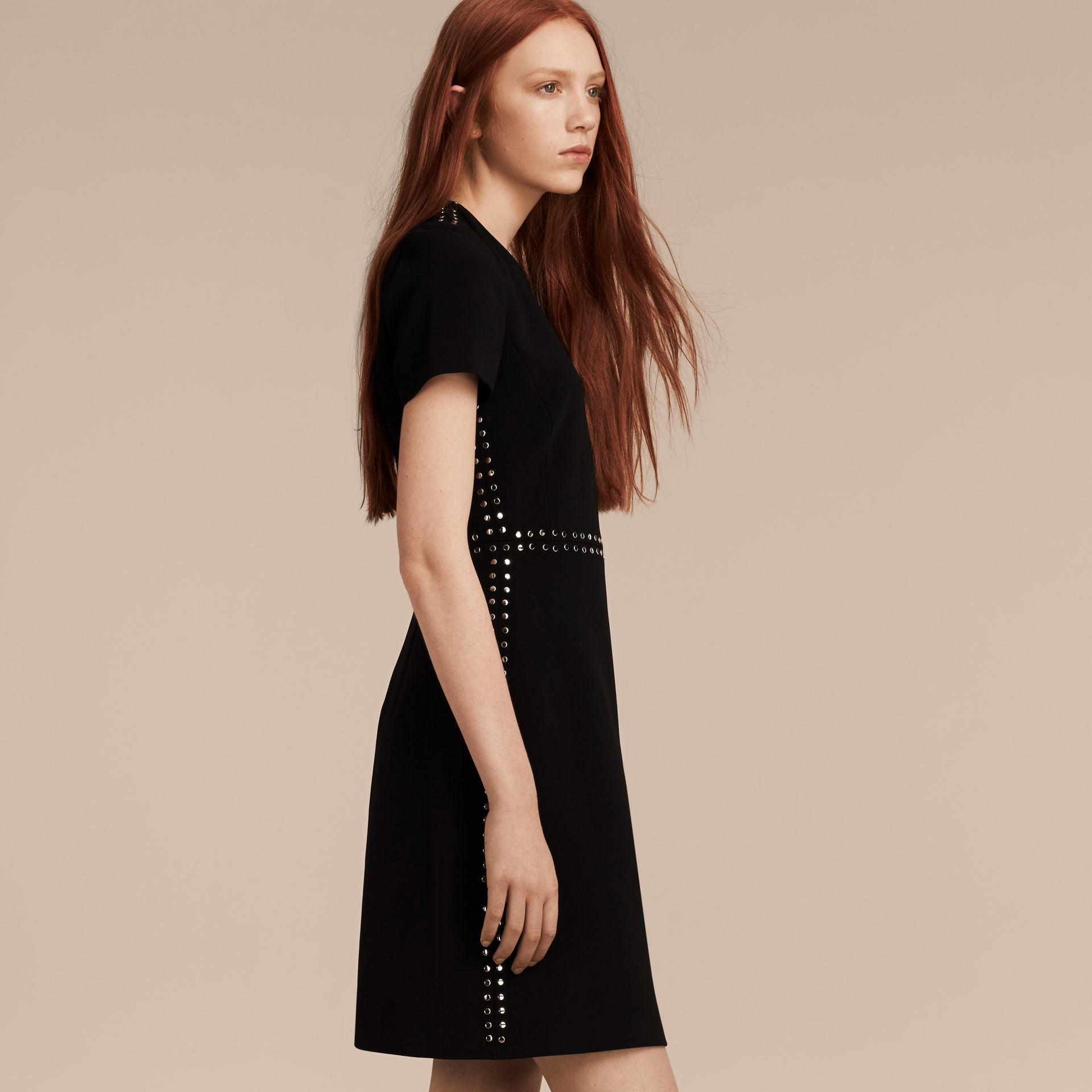 Black Fitted Shift Dress with Studs - gallery image 6