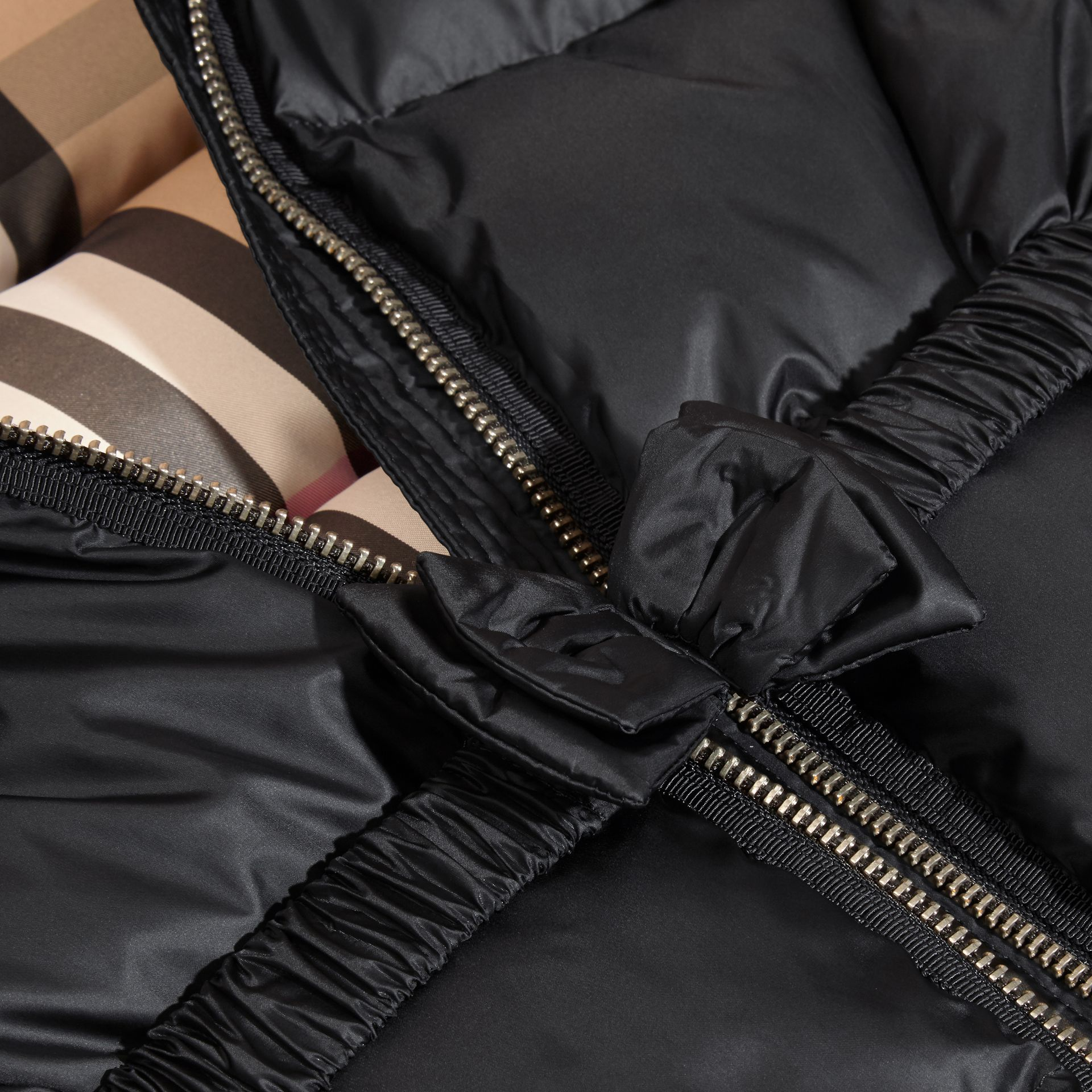 Detachable Fox Fur Trim Hood Down-filled Coat in Black - Girl | Burberry - gallery image 1