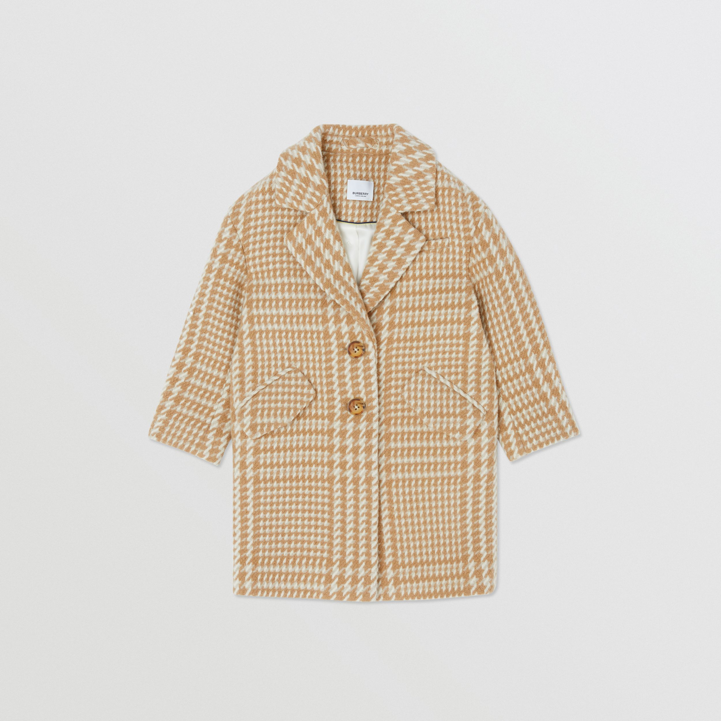 Houndstooth Check Technical Wool Coat in Camel | Burberry - 1