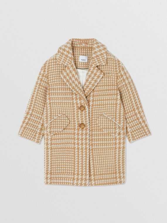 Houndstooth Check Technical Wool Coat in Camel