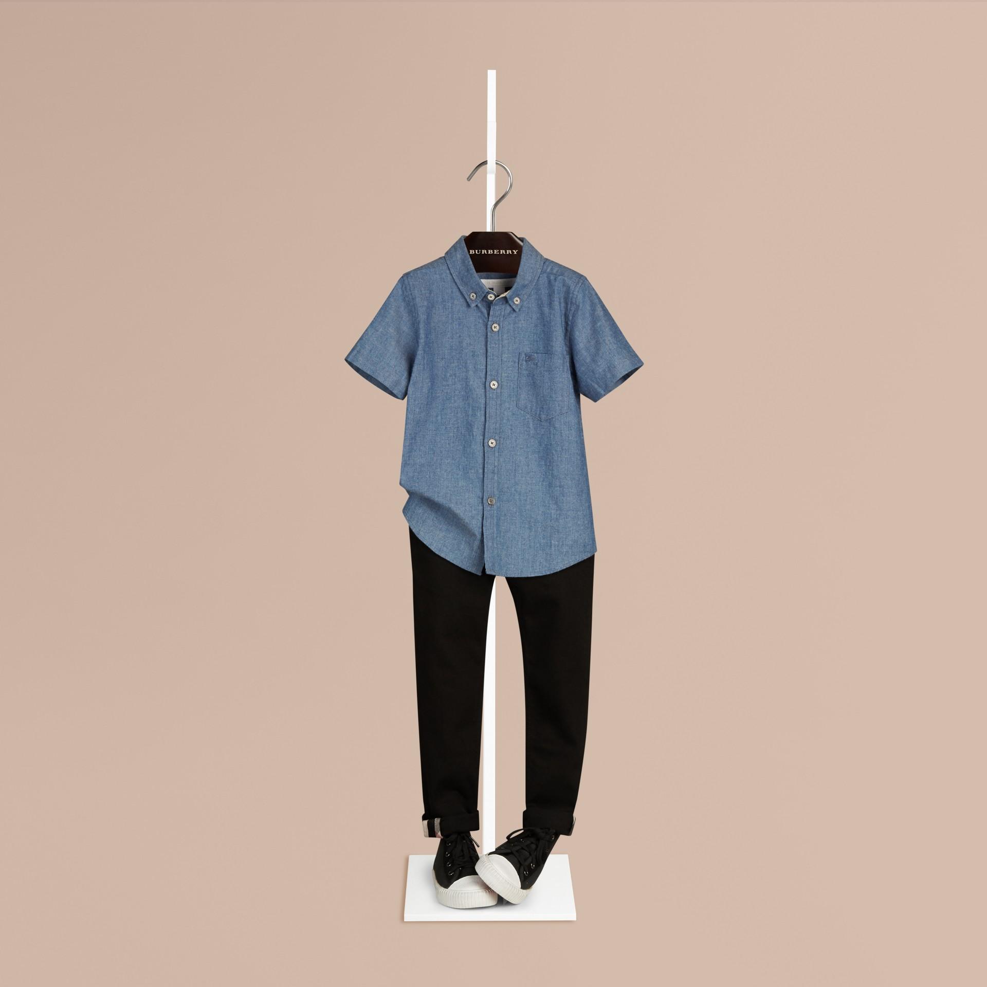 Bleu pierre Chemise en coton à col boutonné avec motif check - photo de la galerie 1