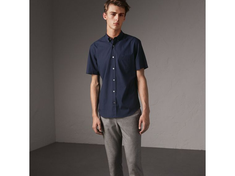 Short-sleeved Stretch Cotton Poplin Shirt in Navy - Men | Burberry - cell image 4