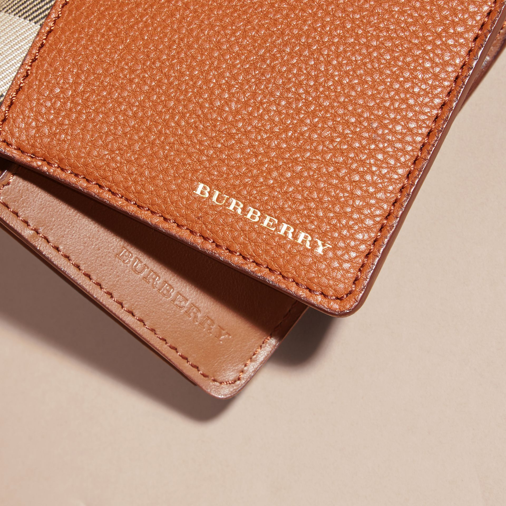 House Check and Grainy Leather Continental Wallet Russet - gallery image 5