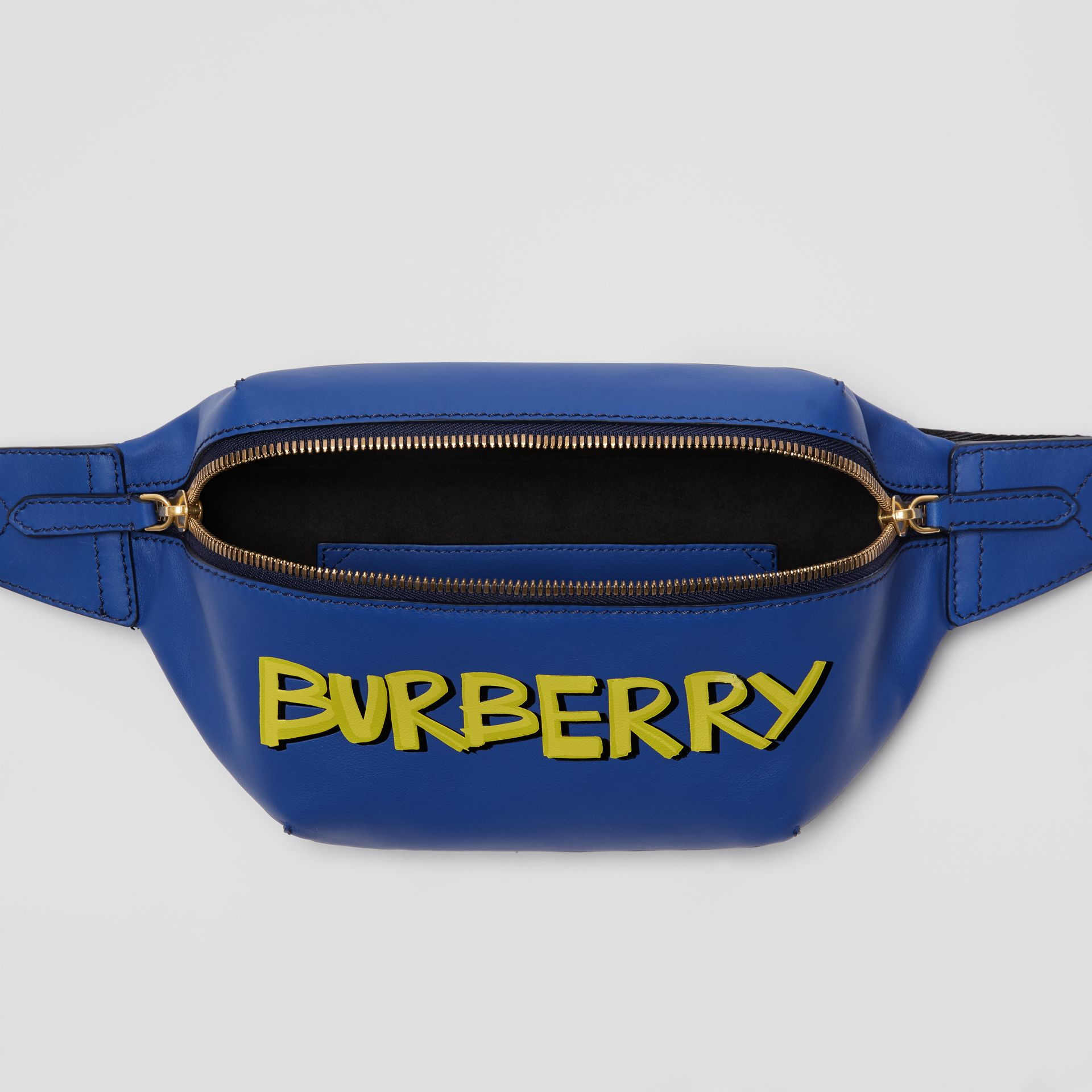 Medium Graffiti Print Leather Bum Bag in Denim Blue - Men | Burberry - gallery image 3