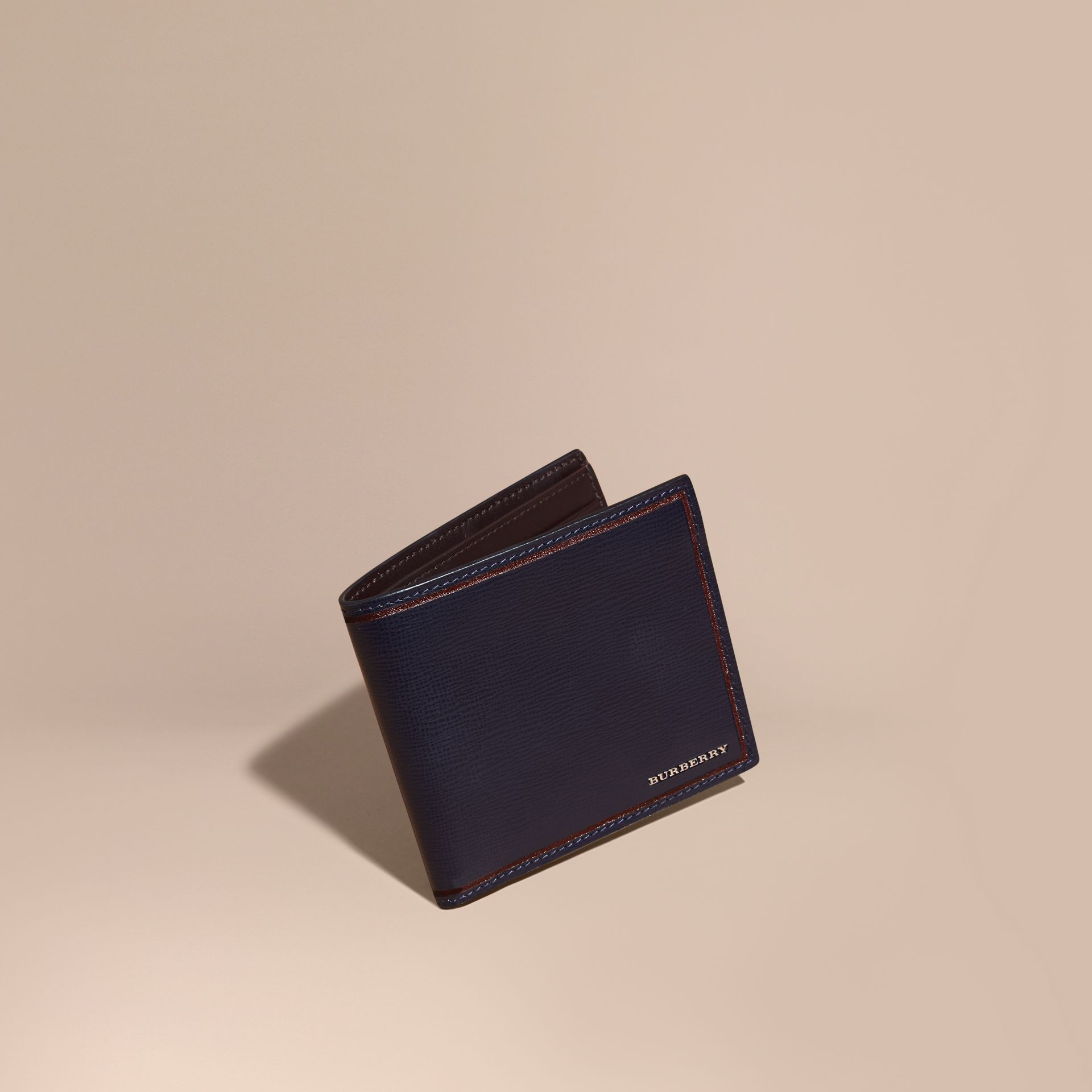 Border Detail London Leather Folding Wallet Dark Navy - gallery image 1