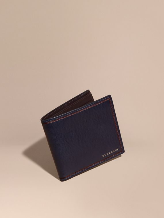 London Leather International Bifold Wallet Dark Navy