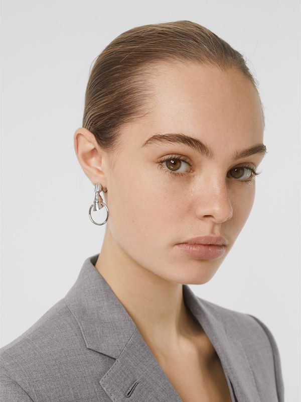 Palladium-plated Hoof Hoop Earrings - Women | Burberry - cell image 2