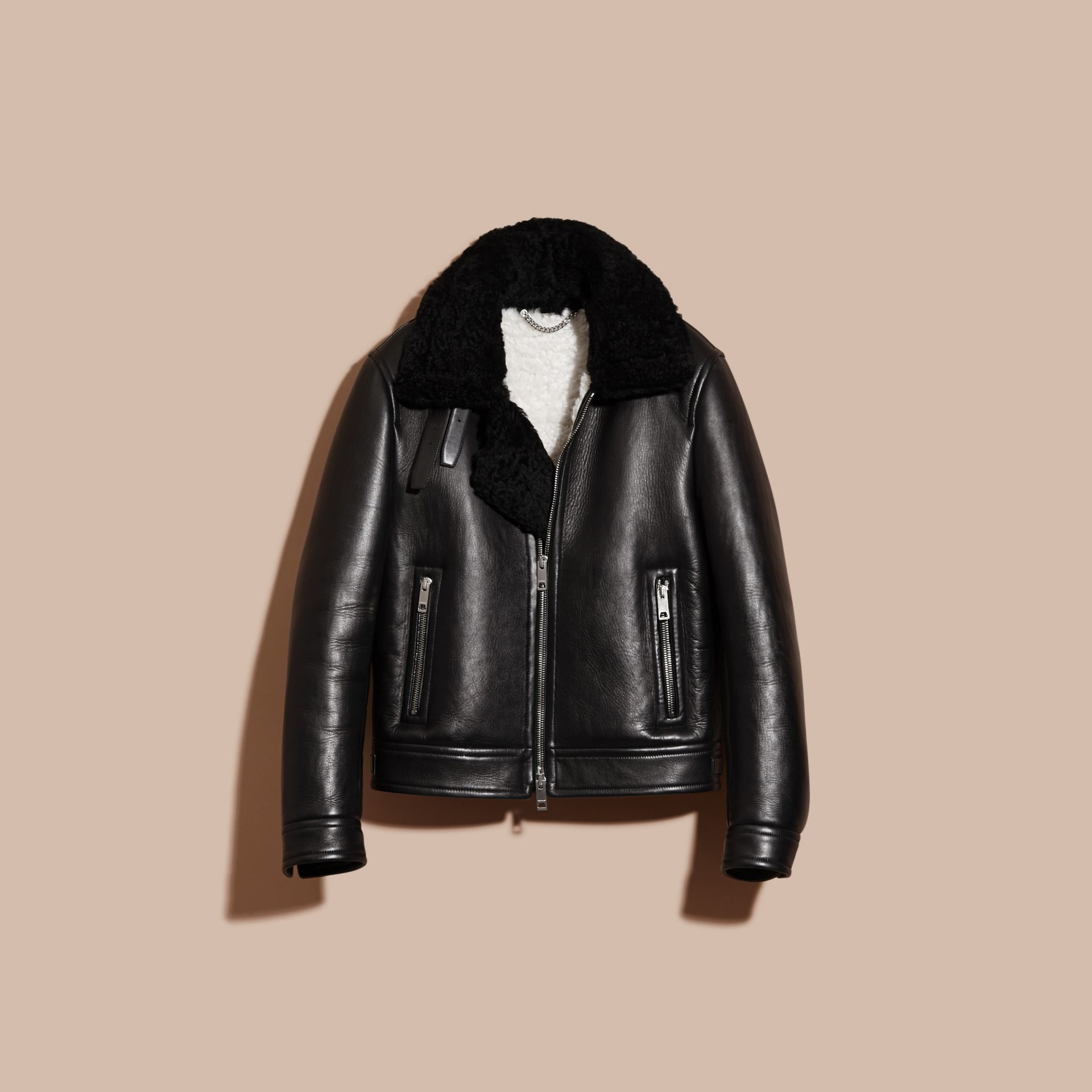 Black Lambskin and Shearling Aviator Jacket - gallery image 4