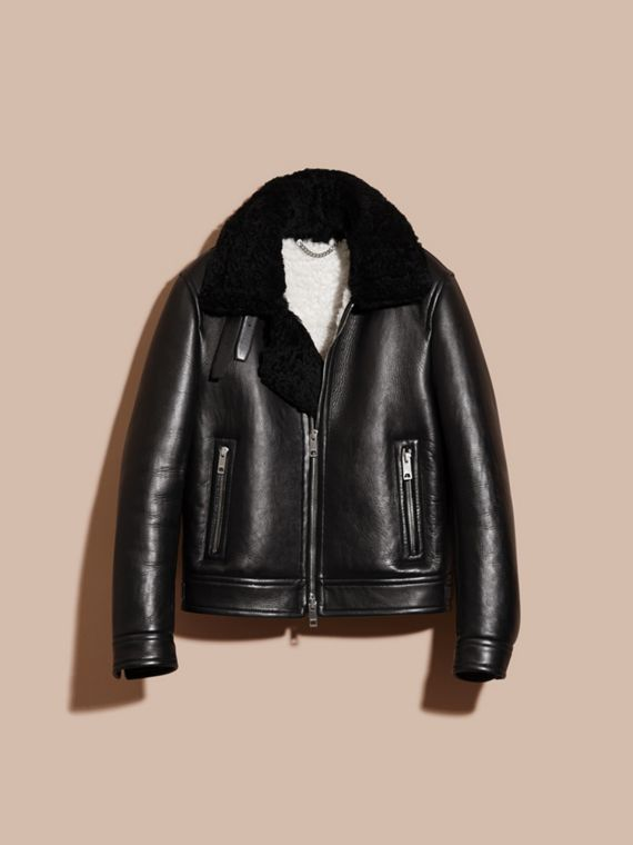 Black Lambskin and Shearling Aviator Jacket - cell image 3