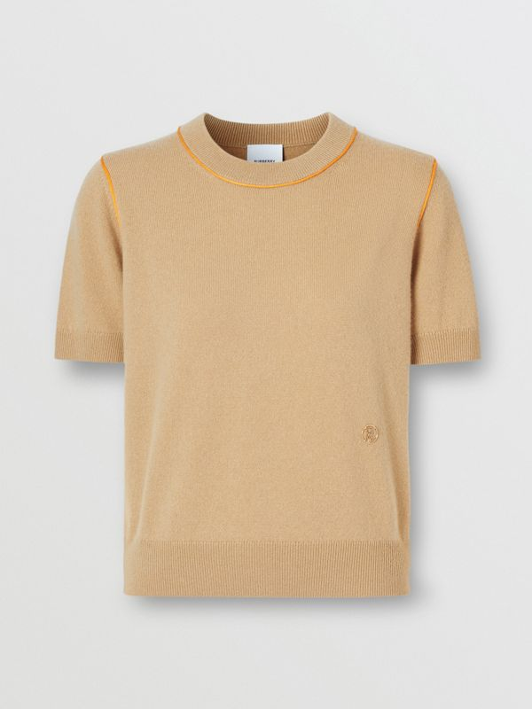 Silk Trim Monogram Motif Cashmere Top in Archive Beige - Women | Burberry - cell image 3