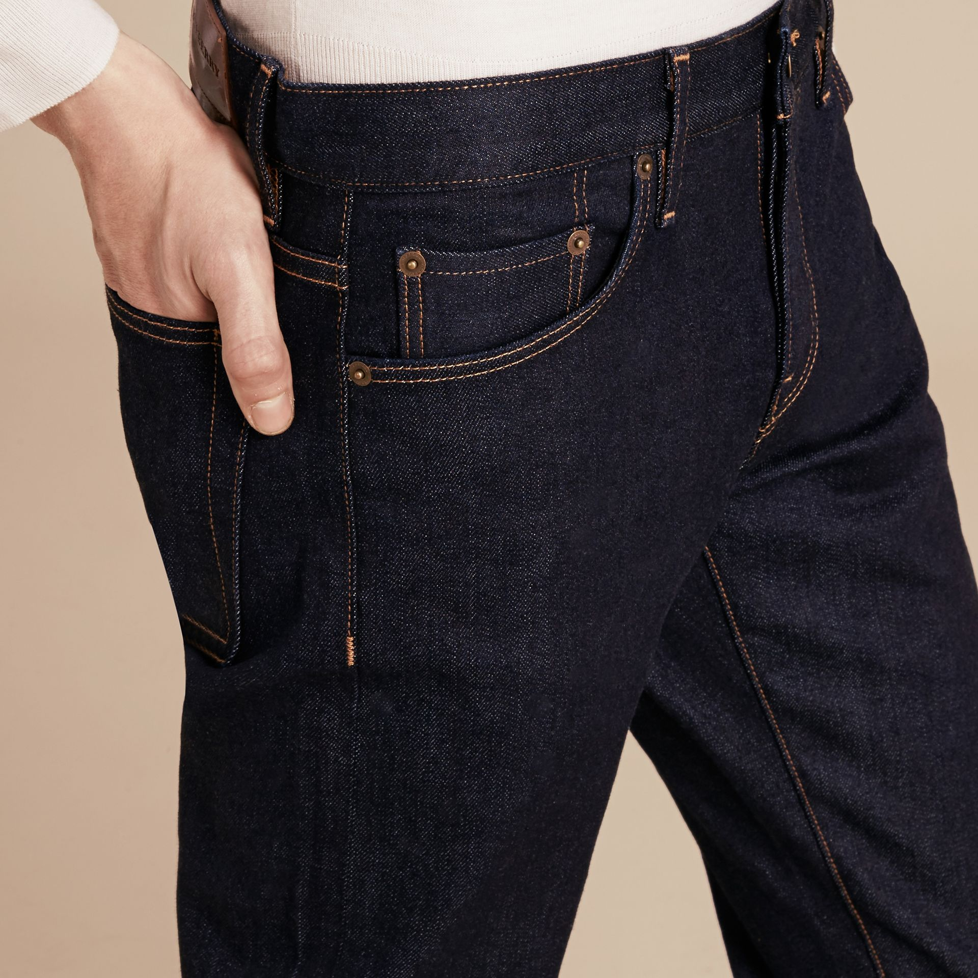 Straight Fit Stretch Japanese Selvedge Denim Jeans - Men | Burberry - gallery image 5