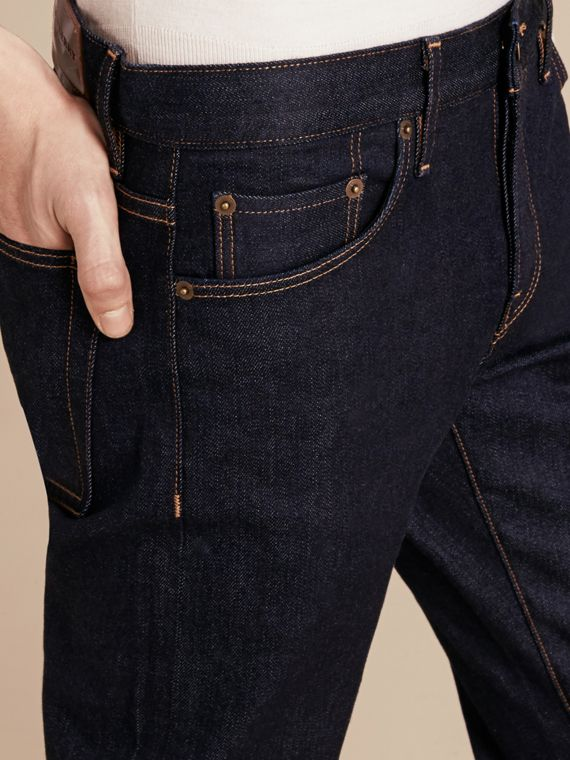 Dark indigo Straight Fit Stretch Japanese Selvedge Denim Jeans - cell image 3