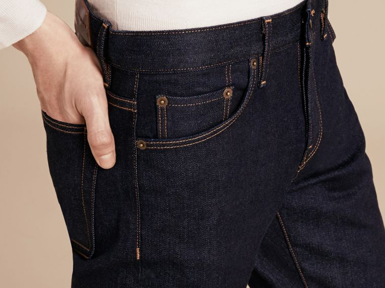 Straight Fit Stretch Japanese Selvedge Denim Jeans - Men | Burberry - cell image 4
