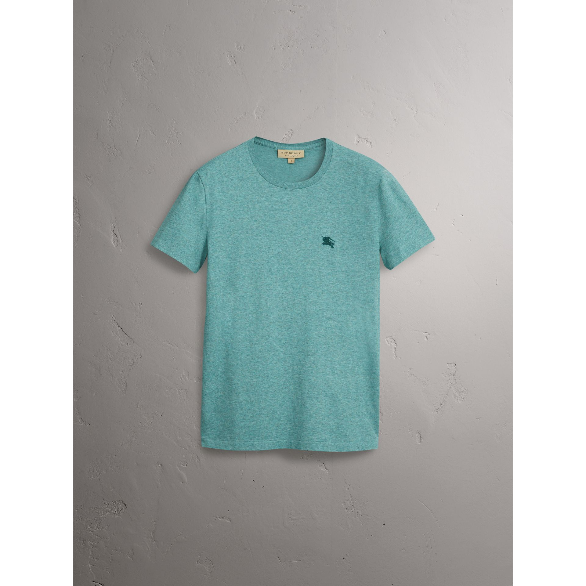 Cotton Jersey T-shirt in Storm Green Melange - Men | Burberry - gallery image 4