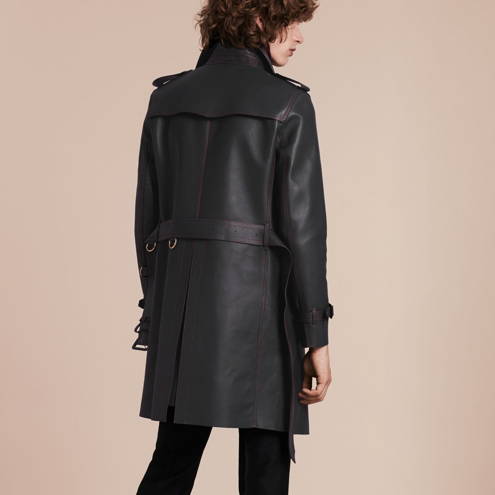 Dark navy Lambskin Trench Coat with Regimental Topstitching - gallery image 3