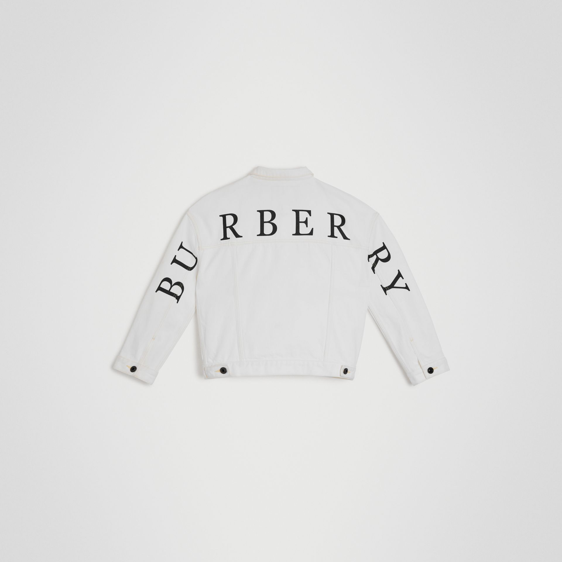 Logo Print Denim Jacket in Natural White | Burberry - gallery image 3