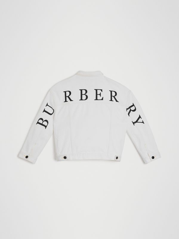 Logo Print Denim Jacket in Natural White | Burberry - cell image 3