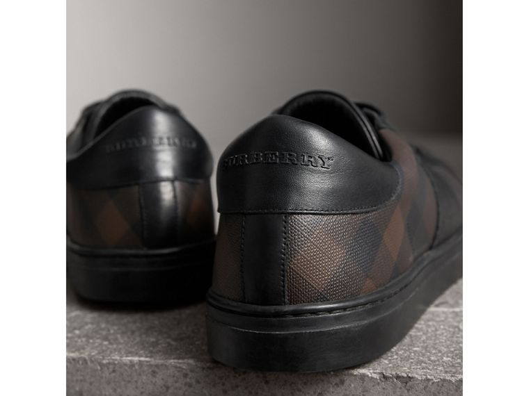 Check Detail Leather Trainers in Smoked Chocolate Chk - Men | Burberry - cell image 1
