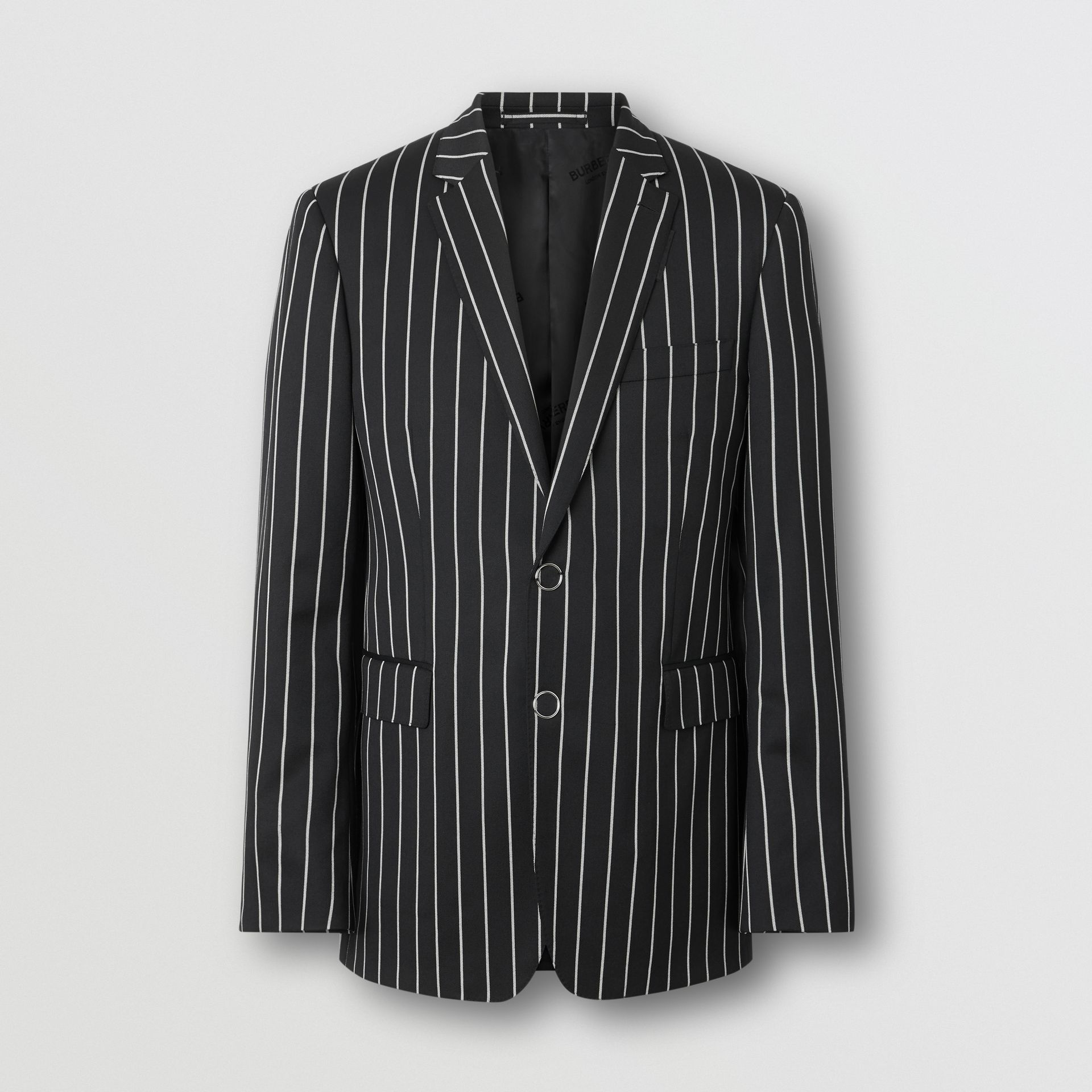 Slim Fit Press-stud Pinstriped Wool Tailored Jacket in Black - Men | Burberry - gallery image 3