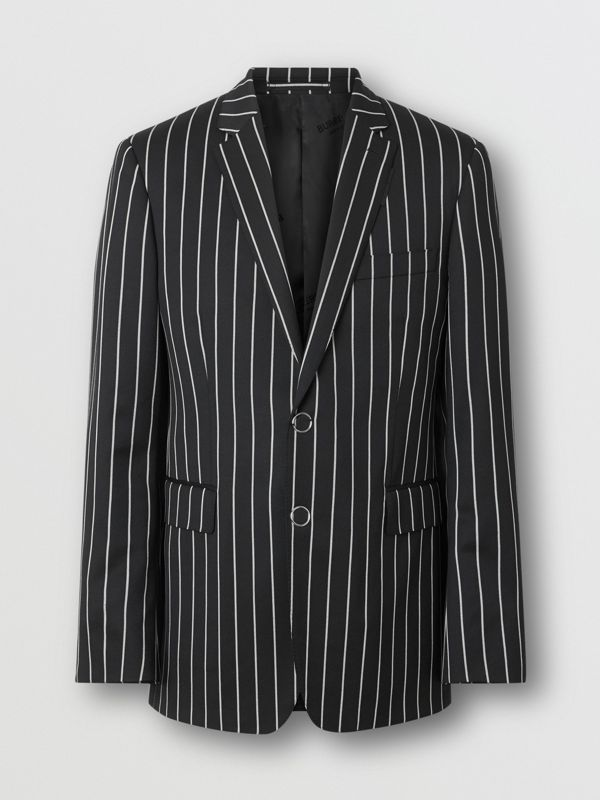 Slim Fit Press-stud Pinstriped Wool Tailored Jacket in Black - Men | Burberry - cell image 3
