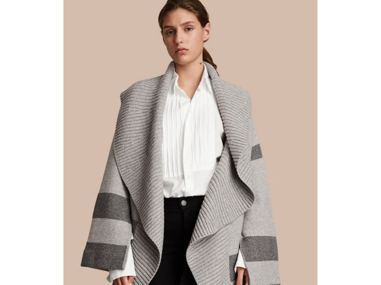 Check Wool Cashmere Blend Cardigan Coat in Pale Grey Melange - Women | Burberry Singapore - cell image 4