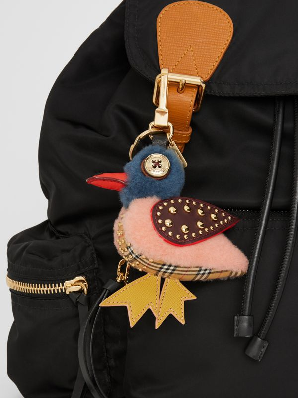 Barry The Duck Shearling and Leather Charm in Ash Rose | Burberry - cell image 2