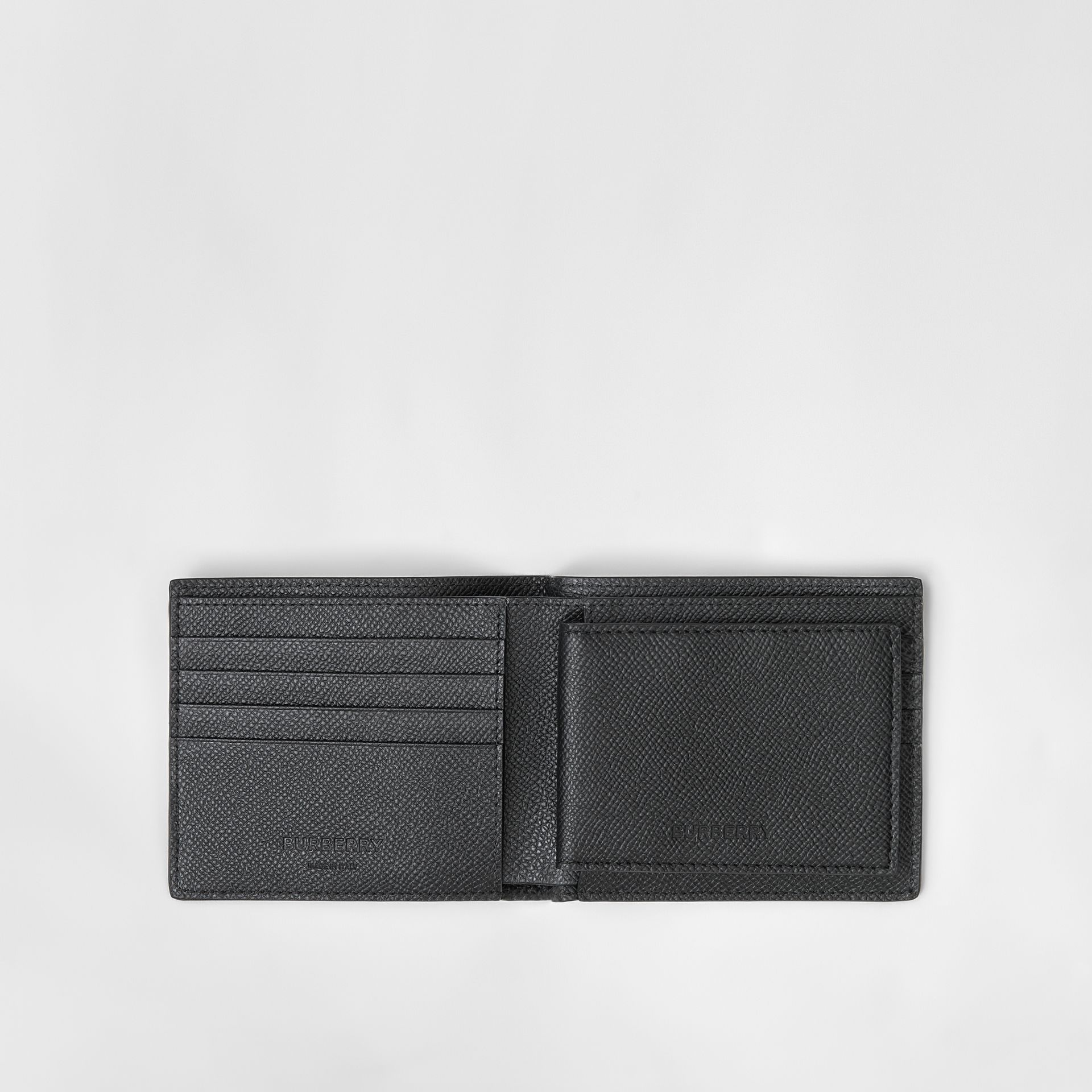 Grainy Leather Bifold Wallet with ID Card Case in Black - Men | Burberry - gallery image 2