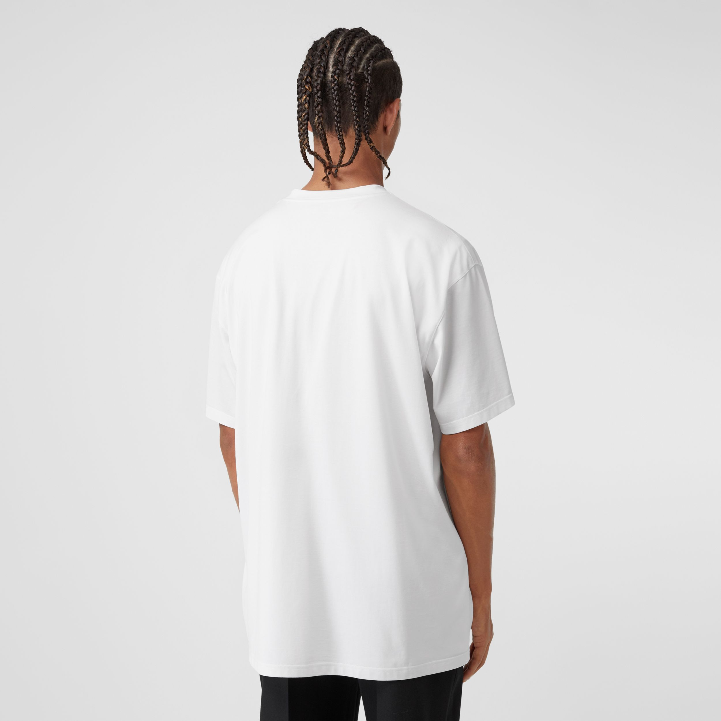 Victorian Portrait Print Cotton Oversized T-shirt in Optic White - Men | Burberry Canada - 3