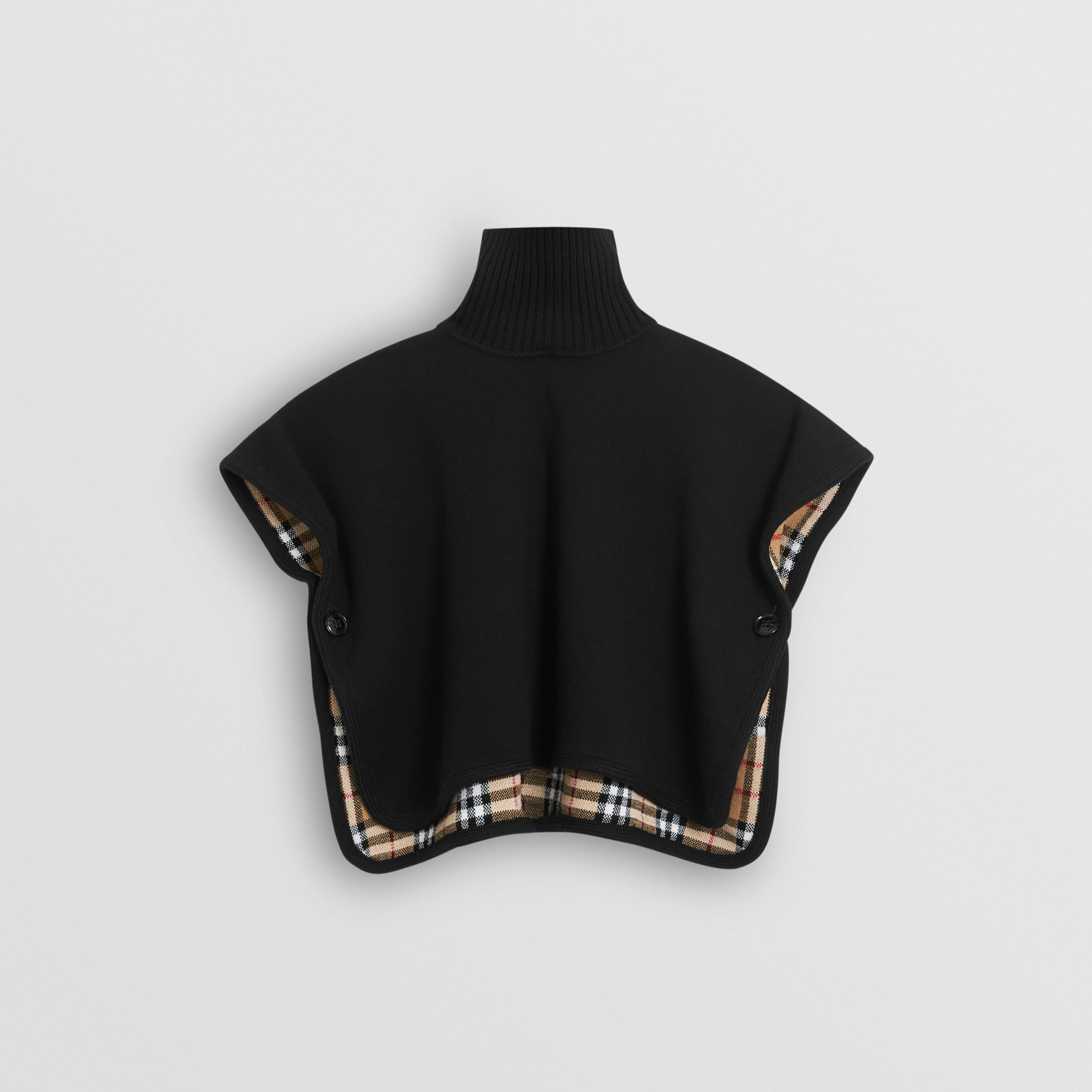 Reversible Vintage Check Merino Wool Jacquard Poncho in Black | Burberry - 1