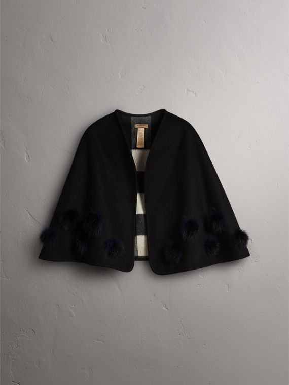 Fur Pom-pom Detail Double-faced Cashmere Wool Cape in Black - Women | Burberry United Kingdom - cell image 3