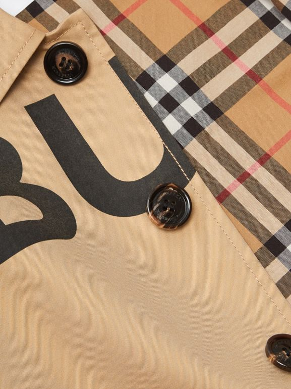 Horseferry Print Cotton Gabardine Car Coat in Honey | Burberry - cell image 1