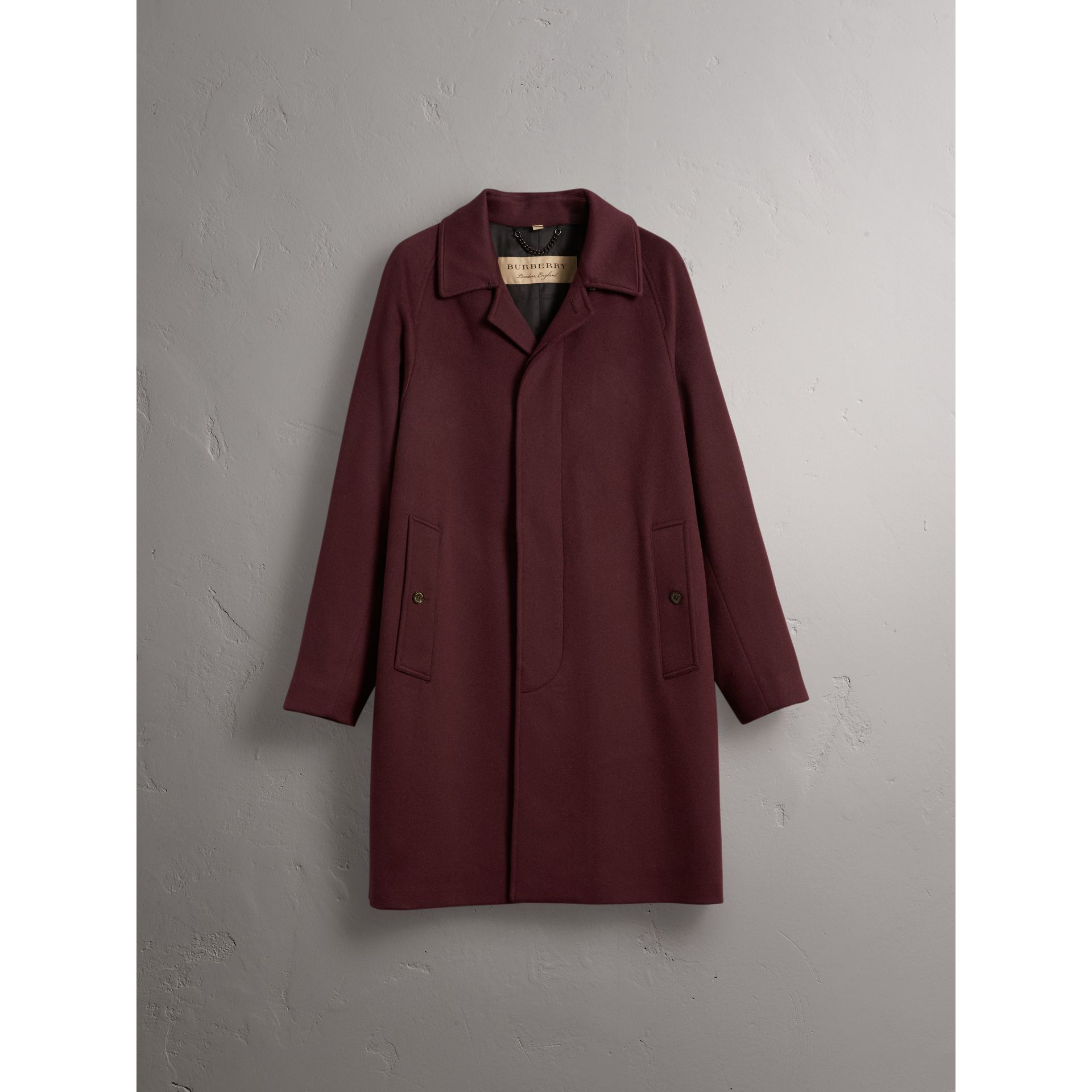 Cashmere Car Coat in Deep Claret Melange - Men | Burberry Canada - gallery image 4