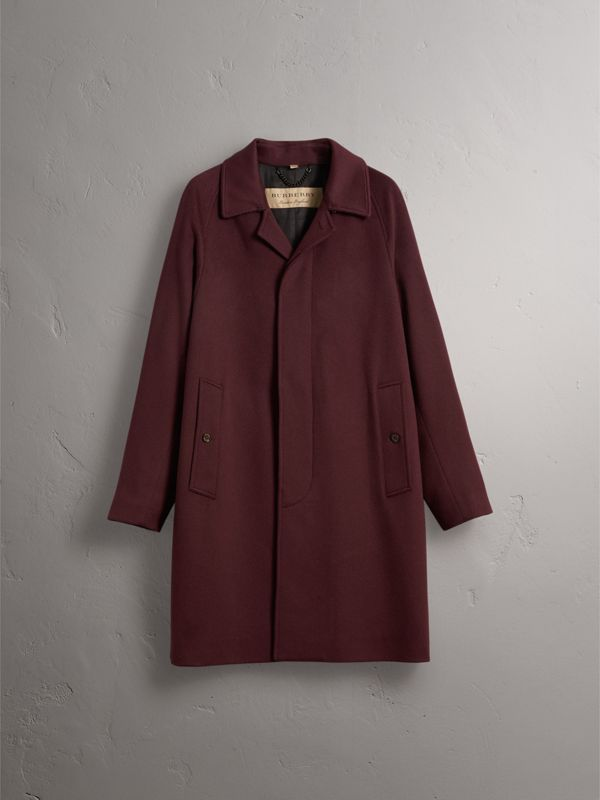 Cashmere Car Coat in Deep Claret Melange - Men | Burberry - cell image 3