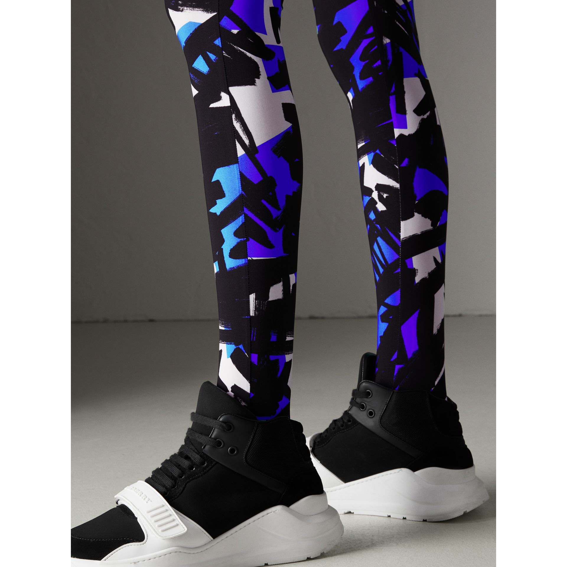 Graffiti Print Leggings in Brilliant Blue - Women | Burberry - gallery image 1