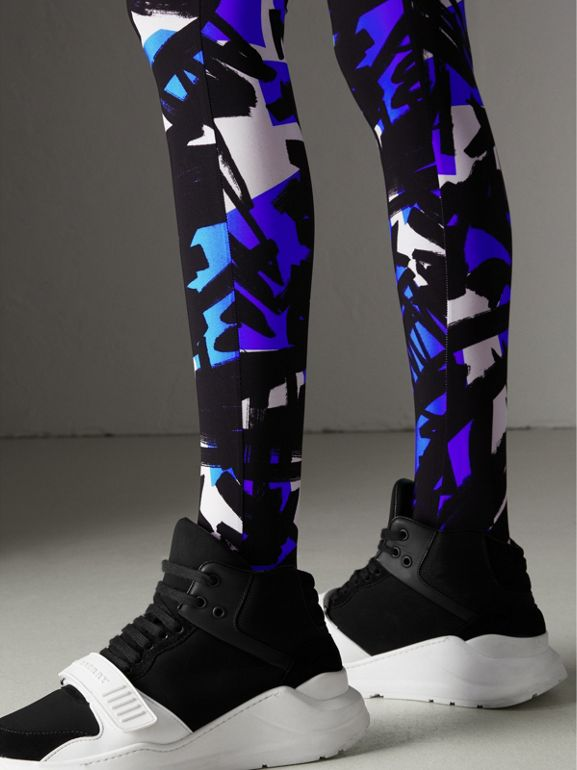 Graffiti Print Leggings in Brilliant Blue - Women | Burberry - cell image 1