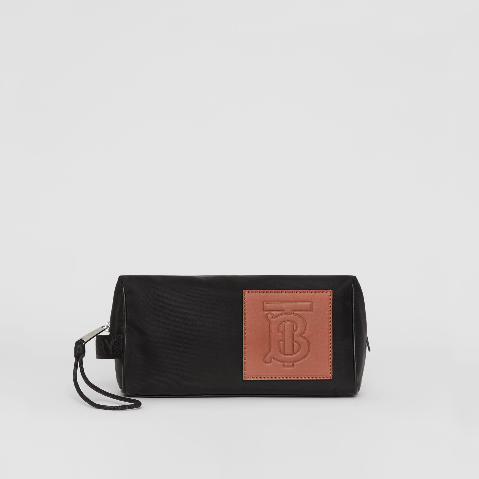 Leather Monogram Motif Nylon Pouch in Black | Burberry - gallery image 3