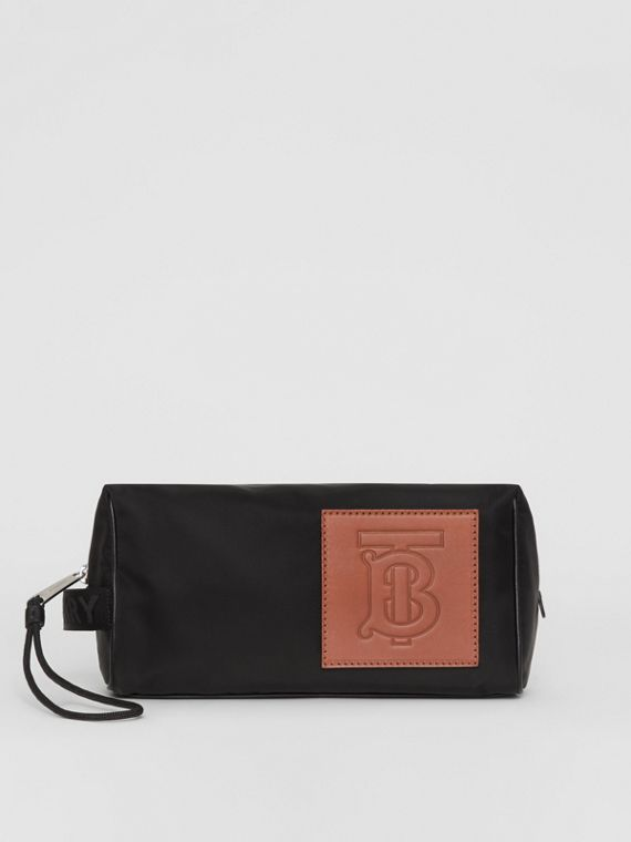 Leather Monogram Motif Nylon Pouch in Black