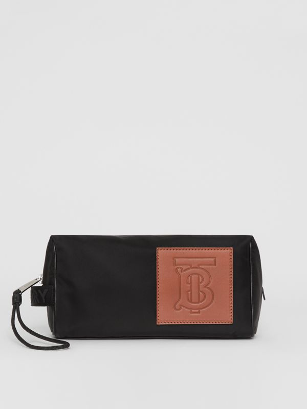 Leather Monogram Motif Nylon Pouch in Black | Burberry - cell image 3