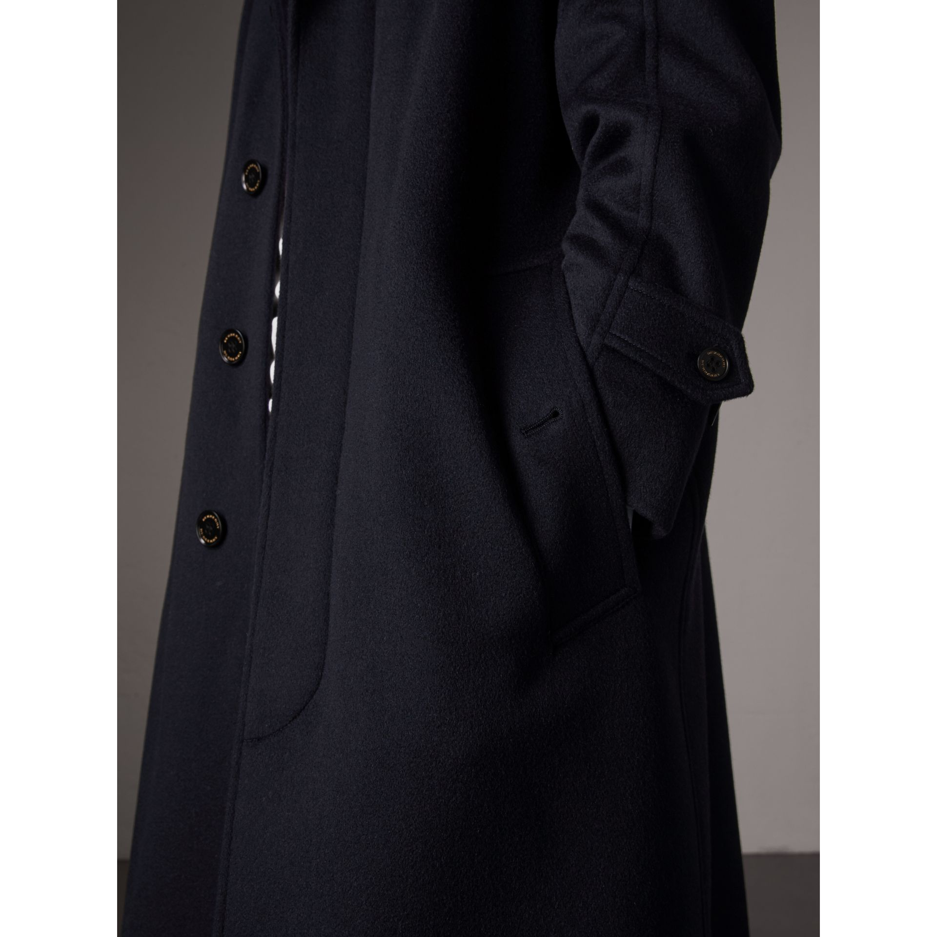 Cashmere Car Coat in Navy - Men | Burberry - gallery image 6