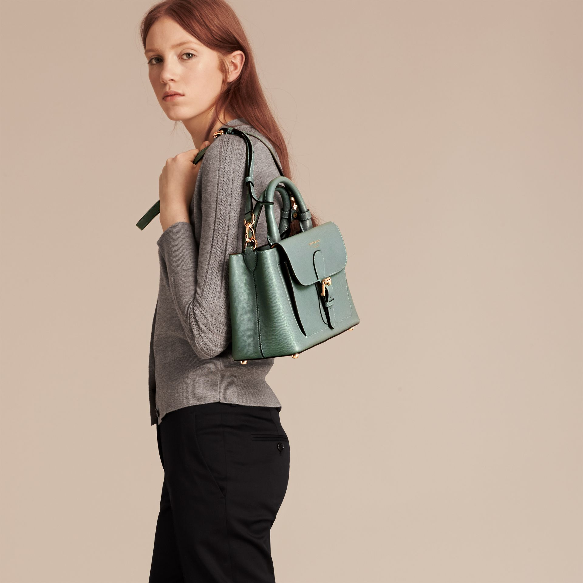 Smokey green The Small Saddle Bag in Grainy Bonded Leather Smokey Green - gallery image 3