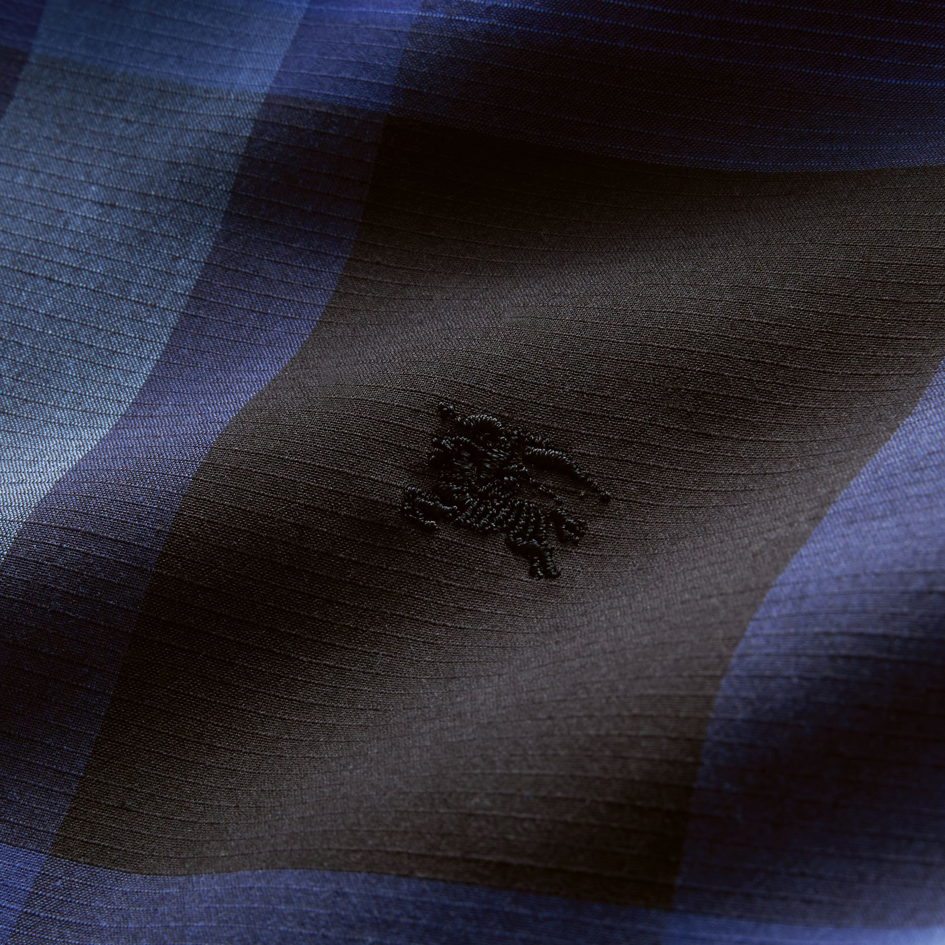 Check Cotton Linen Shirt in Bright Navy - Men | Burberry Canada - gallery image 2