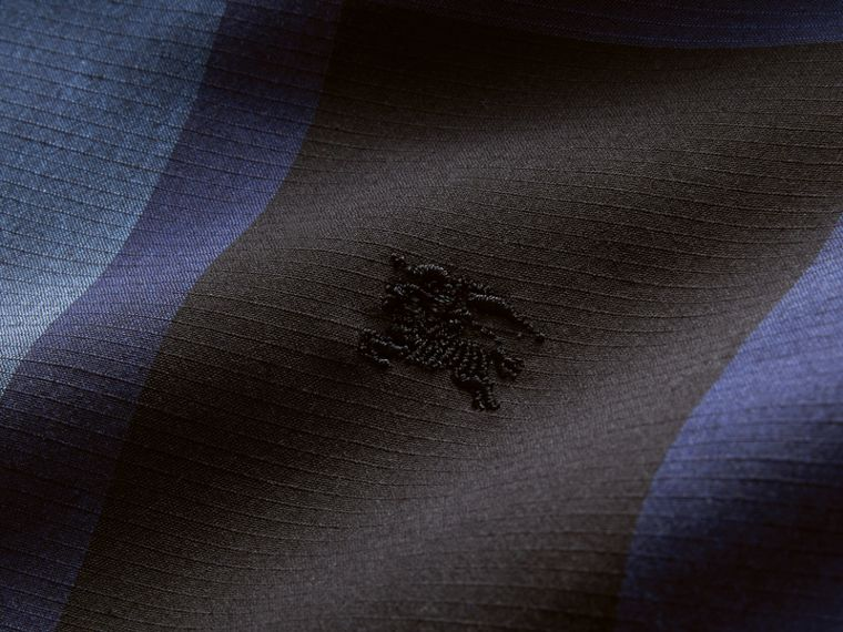 Check Cotton Linen Shirt in Bright Navy - Men | Burberry Canada - cell image 1