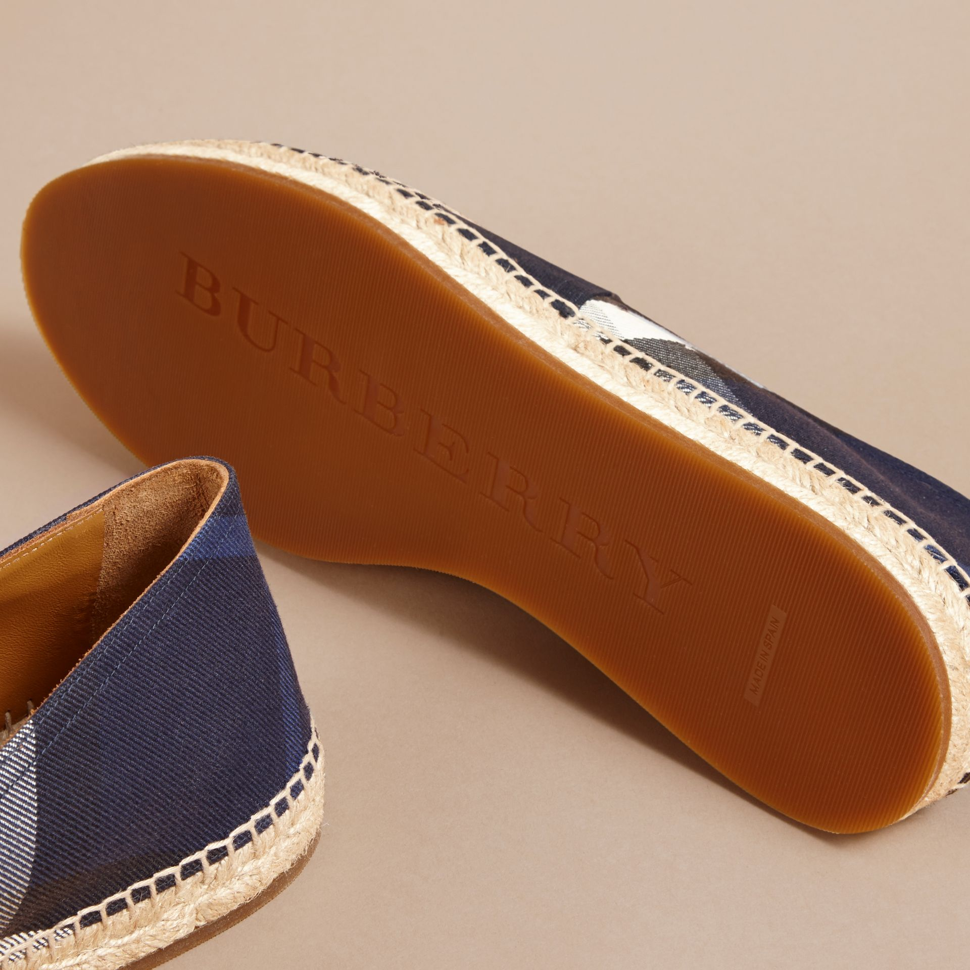Overdyed House Check and Cotton Canvas Espadrilles - Men | Burberry Singapore - gallery image 5