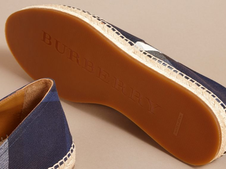 Overdyed House Check and Cotton Canvas Espadrilles in Indigo Blue - Men | Burberry - cell image 4
