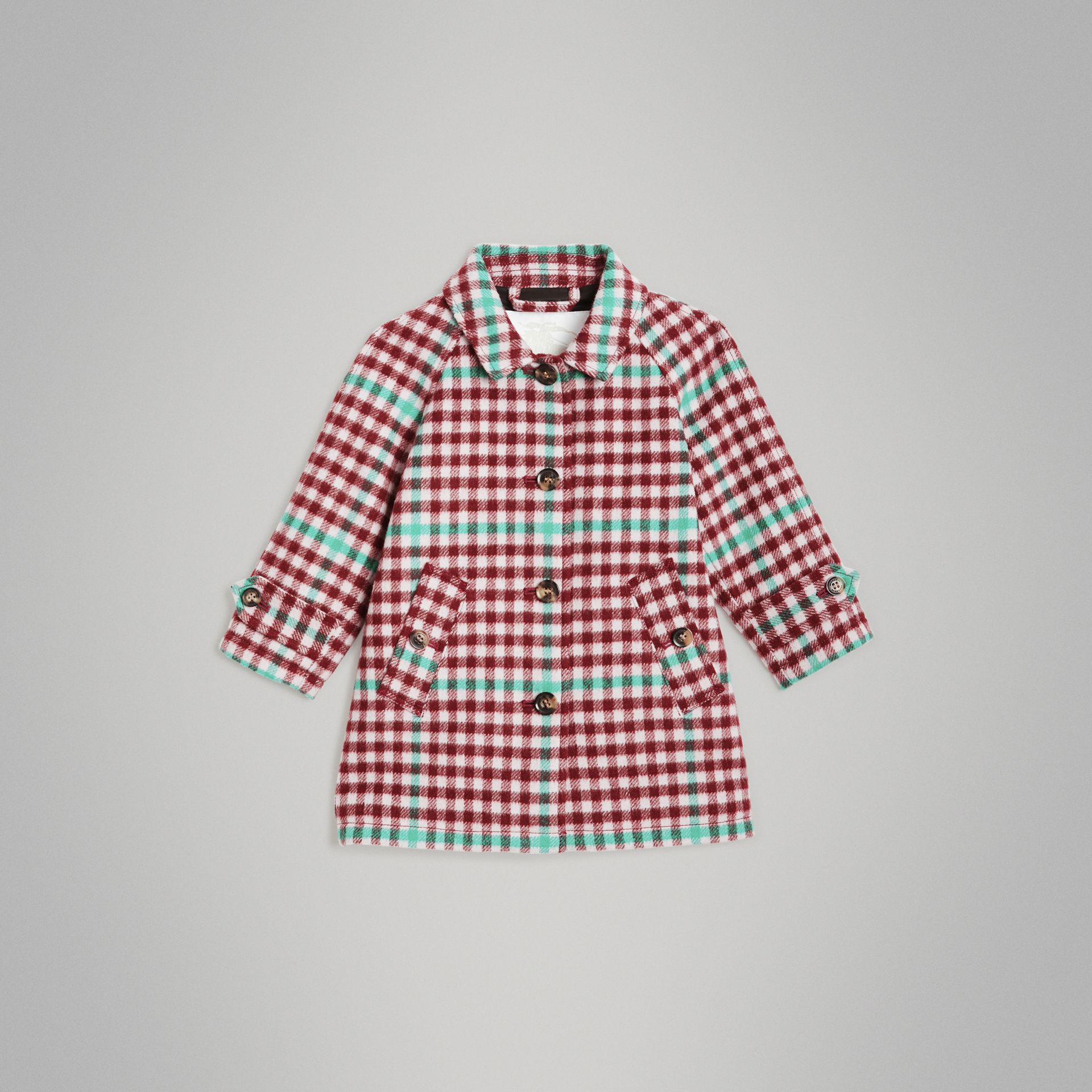 Check Wool Car Coat in Garnet Pink - Children | Burberry United States - gallery image 0